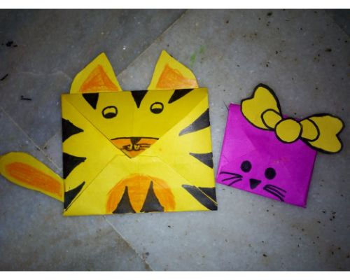Envelope making activity by Pre-Primary Children